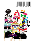 Keklle Photo Booth Props 58 PCS DIY Kit for Wedding, Birthday, Party - Fun Accessories Glass Cap Moustache Lips Bow Ties