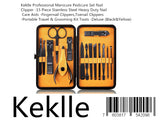 Keklle Professional Manicure Pedicure Set Nail Clipper -15 Piece Stainless Steel Heavy Duty Nail Care Aids -Fingernail Clippers,Toenail Clippers -Portable Travel & Grooming Kit Tools -Deluxe (Black&Yellow)