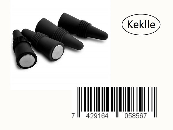 Silicone Bottle Stopper for Wine Beverage Soda Beer, Set of 4 Pieces, Black, Sold