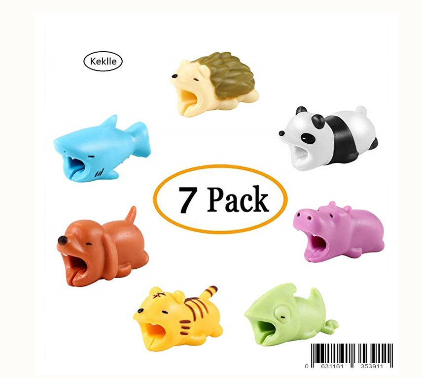 Cable Bite, Aukier Animal Bite Cable Protector Including Hedgehog / Panda / Shark / Dog / Chameleon / Tiger / Hippo for Phone Cable Cord Chargers - 7 Pack