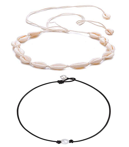 (2 Pack) Keklle Shell Necklace Choker Women Hawaii Beaded Seashell Necklaces Anklet Bracelet Set Adjustable Beach Jewelry