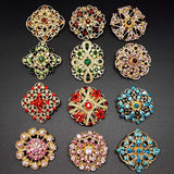Keklle 12pc Multi-Color Rhinestone Crystal Flower Brooches Pins