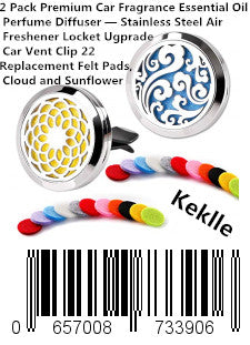 2 Pack Premium Car Fragrance Essential Oil Perfume Diffuser — Stainless Steel Air Freshener Locket Ugprade Car Vent Clip 22 Replacement Felt Pads, Cloud and Sunflower