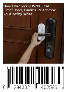 Door Lever Lock (2 Pack), Child Proof Doors, Handles 3M Adhesive - Child Safety-White