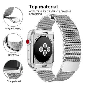 Compatible with Apple Watch Band 42mm with Case, Stainless Steel Mesh Milanese Loop with Adjustable Magnetic Closure Replacement for iWatch Band Compatible with Apple Watch Series 3 2 1