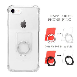 Keklle Cell Phone Ring Holder Stand, Transparent Phone Ring 360° Rotation Finger Grip Ring Stand(2 Black+2 Silver)