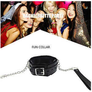 Leather Choker Collar Soft Fur Lining Necklace and Leash For Women Men