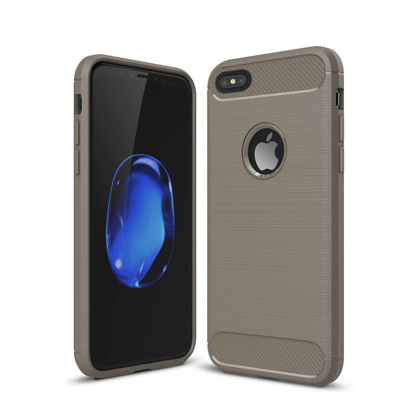 iPhone 5/5s/Se Shockproof Silicone Light Brushed Grip Case Protective Case Cover For Apple + Screen Protector iPhone (Grey)