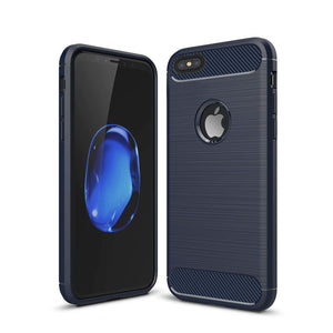 iPhone 5/5s/Se Shockproof Silicone Light Brushed Grip Case Protective Case Cover For Apple Navy Blue + Screen Protector iPhone (Navy Blue)