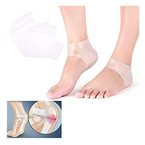 Silicone Gel Heel Protector Sleeve - Moisturizing Feet Heel Spur Pads Socks for Relief Heel Pain & Plantar Fasciitis Pack 4 Pieces Transparent