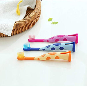 Kids Toothbrush, Homestylish Lovely Extra Soft Toothbrush for Kids 3-12 Years Old (3 Pack-orange&blue&pink)