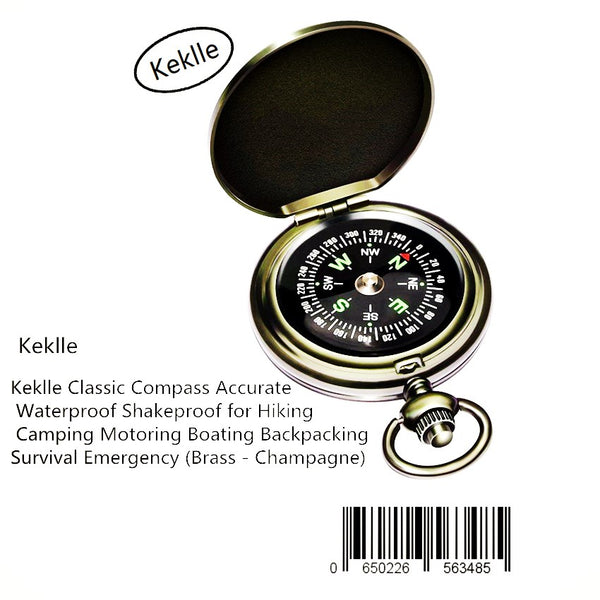 Keklle Classic Compass Accurate Waterproof Shakeproof for Hiking Camping Motoring Boating Backpacking Survival Emergency (Brass - Champagne)