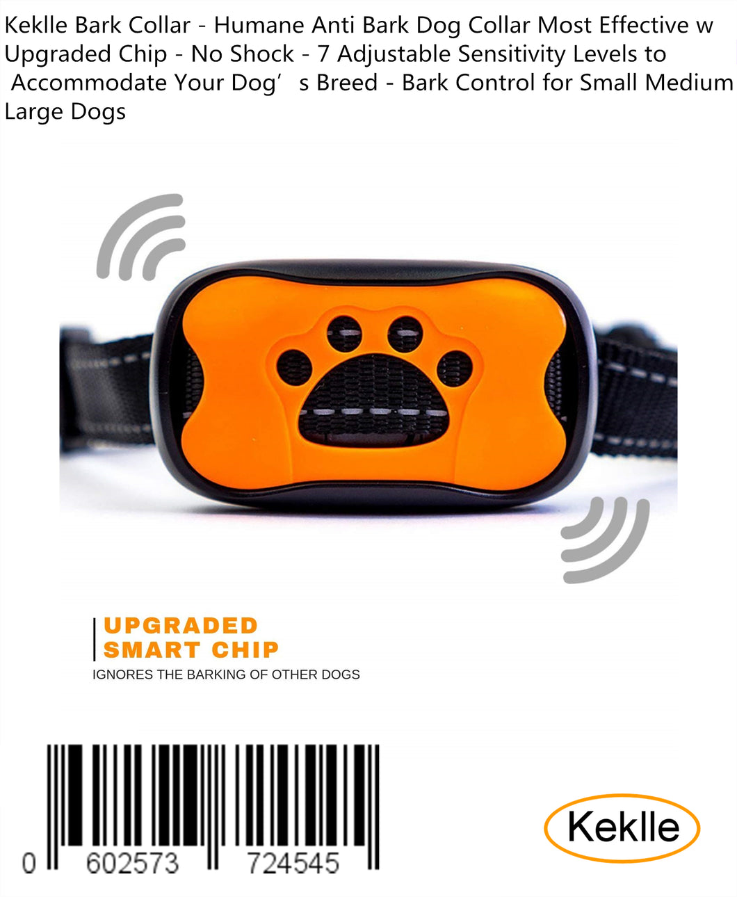 Keklle Bark Collar - Humane Anti Bark Dog Collar Most Effective w Upgraded Chip - No Shock - 7 Adjustable Sensitivity Levels to Accommodate Your Dog's Breed - Bark Control for Small Medium Large Dogs