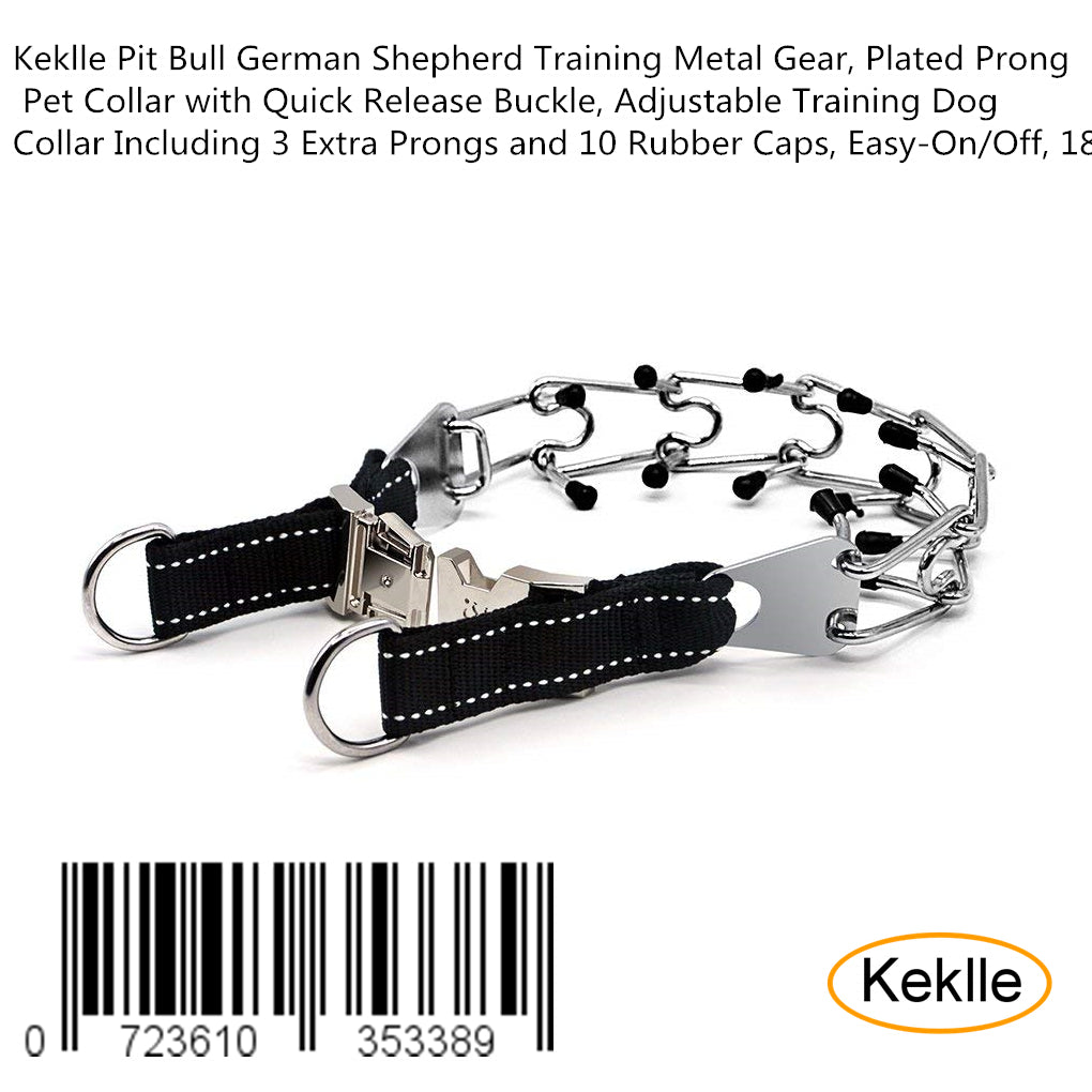 Keklle Pit Bull German Shepherd Training Metal Gear, Plated Prong Pet Collar with Quick Release Buckle, Adjustable Training Dog Collar Including 3 Extra Prongs and 10 Rubber Caps, Easy-On/Off, 18