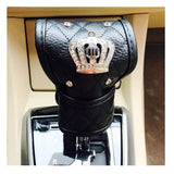 Keklle Black Pu Leather Car Gear Shift Cover with Bling Rhinestones Imperial Crown Decor Car Accessory