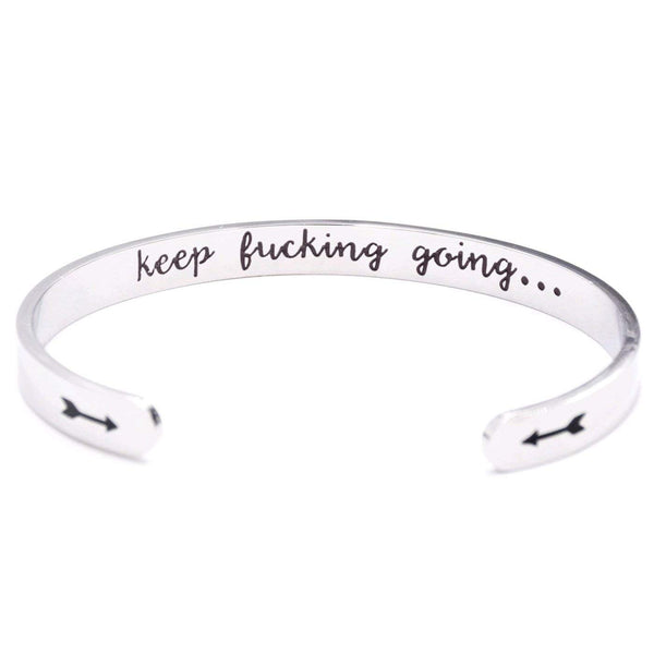 Keklle Keep Fucking Going Cuff Bracelet, Inspirational Motivational Gift, Friends BFF Sisters Encouragement Gift, Arrow Symbols, Secret Message