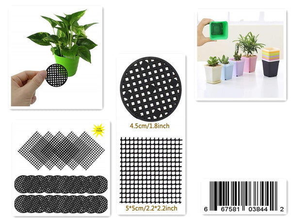 120 Pack Flower Pot Hole Mesh Pad, 100 Pcs 4.5CM/1.8'' Round Bonsai Pot Bottom Grid Mat Mesh and 20 Pcs 2x2 Inch Rigid Polyethylene Garden's Drainage Mesh Hole Screens