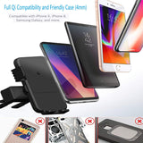 Wireless Charger Car Mount Qi Fast Wireless Car charger CD Mount CD Slot Phone Holder Silicone Anti-scratch 360° Rotatable for iPhone X 8/8 Plus Samsung Galaxy S9/S9 Plus/ S8/ S7