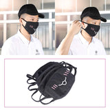 Mouth Masks, Keklle 5Pack Kawaii Muffle Mask, Black Anti Dust Cute Kaomoji Face Mask Cotton Masks for Boys Girls
