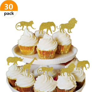 Keklle (30 pcs) Gold Glitter Jungle Safari Animal Cupcake Toppers Picks Jungle Animals Cake Decorations for Jungle safari Animals Party Baby Showers Birthday Party