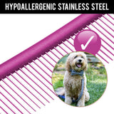 "Keklle 10"" Dog Brush Pet Grooming Dematting Comb for Cats Poodle Greyhound Labradoodle Shih Tzu - Easy Grip Stainless Steel with Different-spaced Rounded Hypoallergenic Teeth - Purple"