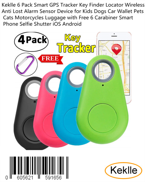 Keklle 6 Pack Smart GPS Tracker Key Finder Locator Wireless Anti Lost Alarm Sensor Device for Kids Dogs Car Wallet Pets Cats Motorcycles Luggage with Free 6 Carabiner Smart Phone Selfie Shutter iOS Android