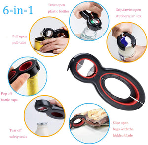 Multi Bottle Opener, Professional Can and Jar Opener, 5-in-1 and 6-in-1, Twist Off Lid Kitchen Tool Suitable for Seniors or Arthritic Hands