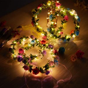 Keklle 4 Pcs LED Flower Wreath Headband - Crown Floral Garland Boho for Festival Wedding, Wreath Headdress with LED Decor T013