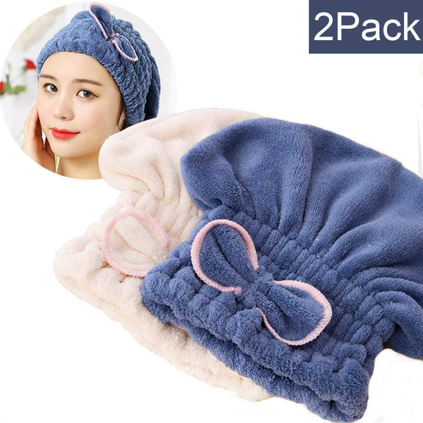 Keklle 2PC Microfiber Hair Drying Caps, Extrame Soft & Ultra Absorbent, Fast Drying Hair Turban Wrap Towels Shower Cap for Girls and Women (Blue+Beige)