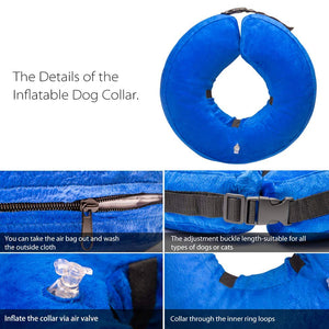 Keklle Dog Inflatable Collar, Protection Dog Collar Pet E-Collar for Pets Protect Injuries Rashes and After Surgery Blue