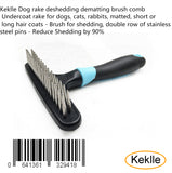Keklle Dog rake deshedding dematting brush comb - Undercoat rake for dogs, cats, rabbits, matted, short or long hair coats - Brush for shedding, double row of stainless steel pins - Reduce Shedding by 90%