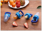 Keklle Baby Food Feeder 3 Pack Fruit Food Silicone Nipple Teething Toy Reusable Aching Gums Pacifier,Blue