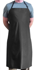 "Keklle Black Heavy Duty Waterproof with Neck Adjuster Durable Long Kitchen Dishwashing Bib 41"" x 27"" PVC Vinyl"