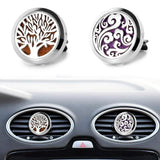2 Packs Car Diffuser Vent Clip Car Diffuser Essential Oils Stainless Steel Aromatherapy Locket with Refill Pads(Tree of life & Clouds)