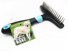 Load image into Gallery viewer, Keklle Dog rake deshedding dematting brush comb - Undercoat rake for dogs, cats, rabbits, matted, short or long hair coats - Brush for shedding, double row of stainless steel pins - Reduce Shedding by 90%