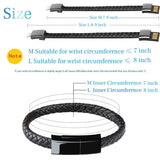Keklle Bracelet Charging Cable Data Sync/iPhone Lightning to USB A Cable Bracelet Durable Leather Braided Wrist Band Portable Short Charger Cord Cable iPhone iPad/iPod More - Black-7.9 inch