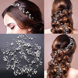 Crystals Bridal Wedding Jewelry Hair Accessories for Women, 1 Pair of Crystal Rhinestone Hair Pins, 20 Pack Pearl Flower Crystal Hair Pins Clips,1 Pack Hair Headpiece Pearl Wedding Hair Vine-Silver