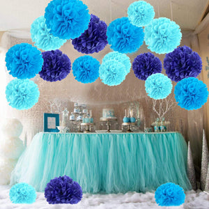 Keklle Tissue Paper Pom Poms, Recosis Paper Flower Ball for Birthday Party Wedding Baby Shower Bridal Shower Festival Decorations, 18 Pcs - Sky Blue, Blue and Dark Blue