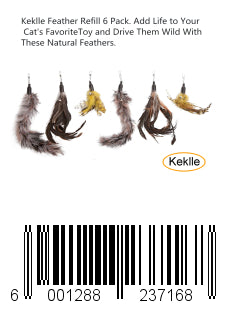 Keklle Feather Refill 6 Pack. Add Life to Your Cat's Favorite Toy and Drive Them Wild With These Natural Feathers.