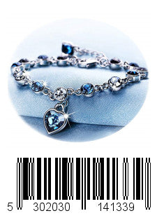 Love Heart Ocean Blue Crystal Bracelet for Women and Teens Sapphire Birthstone Charm Eternal Love Bangle (Blue crystal bracelet)