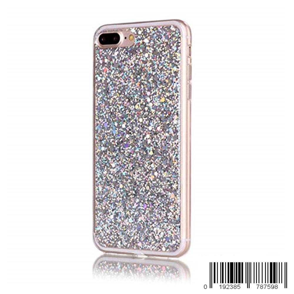 Keklle iPhone 8 Plus Case, Ultra Slim Bling Glitter Flexible Gel TPU Silicone Bumper Soft Hybrid Back Protective Shell for iPhone 7 Plus/ iPhone 8 Plus 5.5 inch (Sliver)
