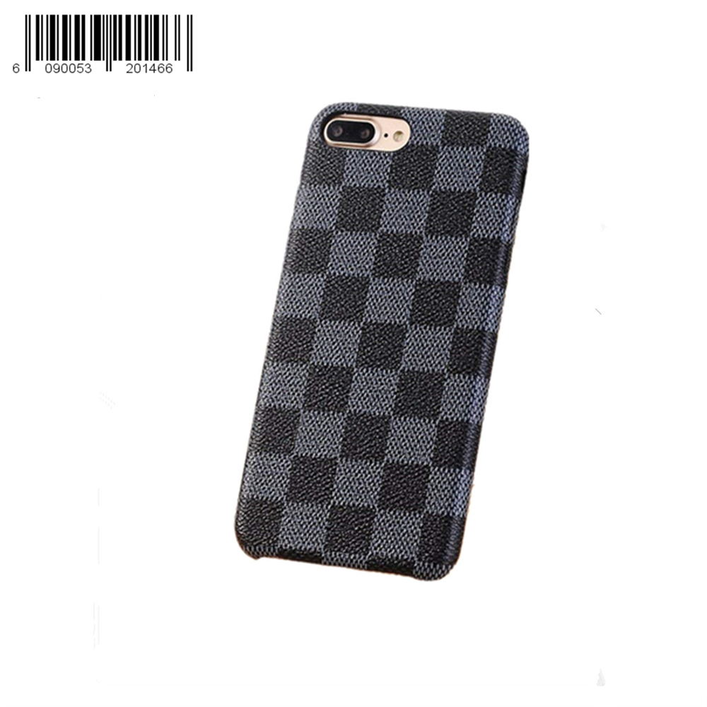 Keklle iPhone 8 Plus / 7 Plus case, New Elegant Luxury PU Leather Checker Pattern Classic Style Cover Case For iPhone 7 Plus iPhone 8 Plus (Color : Black)