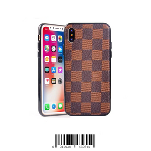 Keklle iPhone Luxury Designer Case, High Fashion Slim Durable Faux Leather Textured Brown Checkered Case for iPhone (iPhone 7+/8+)