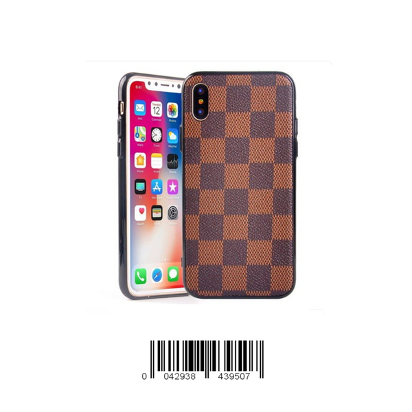 Keklle iPhone Luxury Designer Case, High Fashion Slim Durable Faux Leather Textured Brown Checkered Case for iPhone (iPhone X/10)