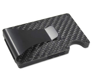 Carbon Fiber Wallet Money Clip by Widely Quality - RFID Blocking - Complete Set with Screwdriver - Minimalist Card Holder Pop Up - Slim wallet - Lightweight and Secure - for Men and Women