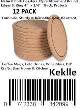"Load image into Gallery viewer, Natural Cork Coasters 12pcs Absorbent Round Edges & Ring 4"" x 1/4"" Thick, Protects Furniture, Sturdy & Reusable, Heat-Resistant, Coffee Mugs, Cold Drinks, Wine Glass, DIY Crafts, Bars Home & Kitchen"