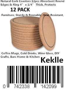 "Natural Cork Coasters 12pcs Absorbent Round Edges & Ring 4"" x 1/4"" Thick, Protects Furniture, Sturdy & Reusable, Heat-Resistant, Coffee Mugs, Cold Drinks, Wine Glass, DIY Crafts, Bars Home & Kitchen"