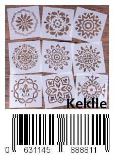 Keklle  Mandala Reusable Stencil Set of 9 (6x6 inch) Painting Stencil, Laser Cut Painting Template for DIY Decor, Painting on Wood, Airbrush, Rocks and Walls Art