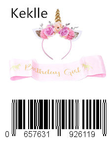 Keklle Girls Gold Unicorn Headband,& Pink Silk Unicorn Birthday Sash,Unicorn Party Supplies for Kids Adults