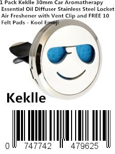 1 Pack Keklle 30mm Car Aromatherapy Essential Oil Diffuser Stainless Steel Locket Air Freshener with Vent Clip and FREE 10 Felt Pads - Kool Emoji